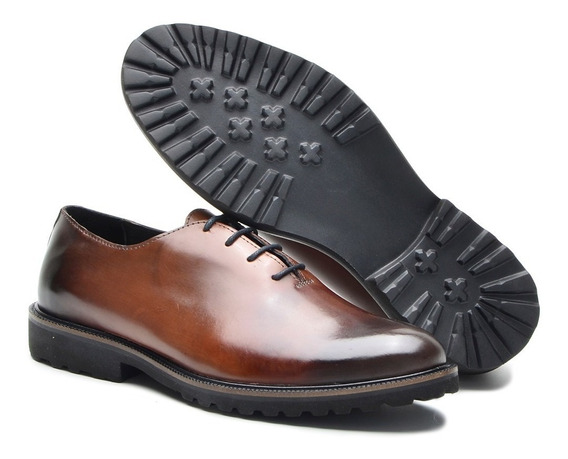 Sapato Oxford Casual Esporte Fino Anatômico Couro Estilo Inglês Brogue Wing Amarrar Solado Eva Cla Cle P5001/01 + Brinde