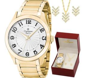 Kit Relógio Champion Feminino Com Colar E Brincos Cn25029w
