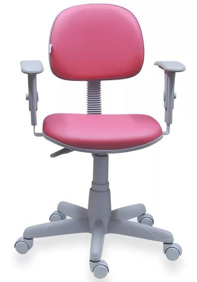 Cadeira Rosa Pink Giratória Base Cinza Com Braços Campinas