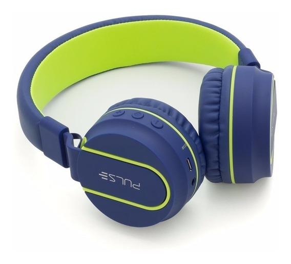 Headphone Pulse Bluetooth Ph218 Azul/verde Em 12x Sem Juros