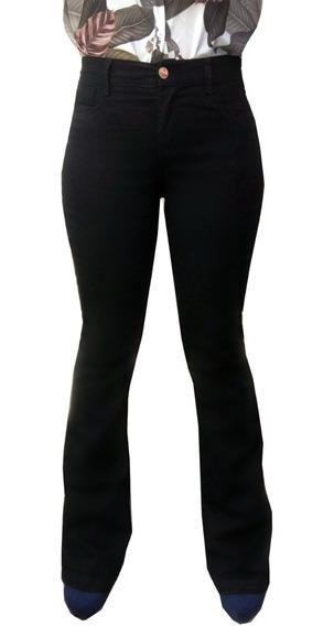 Calças Femininas Jeans Flare Preta Levanta Bumbum - Estilosa