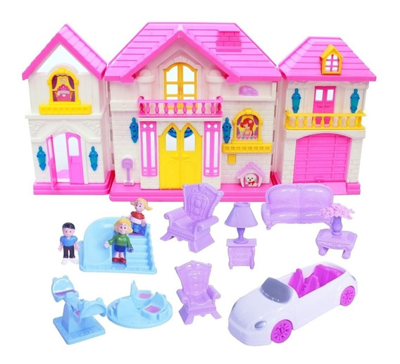 Kit Brinquedo Casinha Infantil 15 Peças Com Luz E Som Rosa