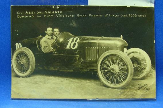 Antigua Postal Automóvil Campeón Monza 1922 Bordino Fiat