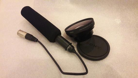 Microfone Sony Ecm-nv1 & Lente Sony Vcl-hgo758 X0.7 Wide .