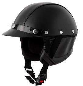Capacete Pro Tork Coquinho Moto Custom Em Couro
