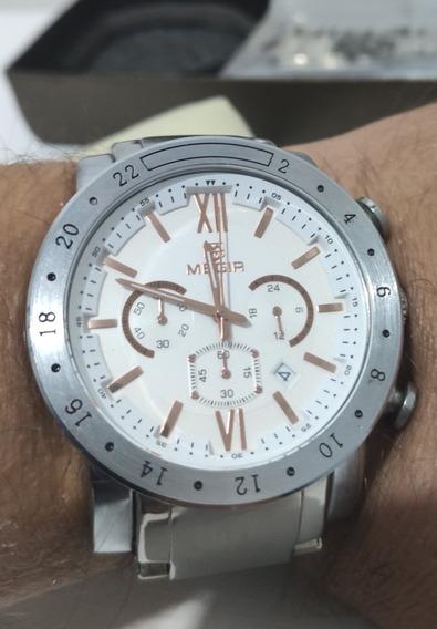 Relógio Megir 3008g - Prata Fundo Branco Dourado