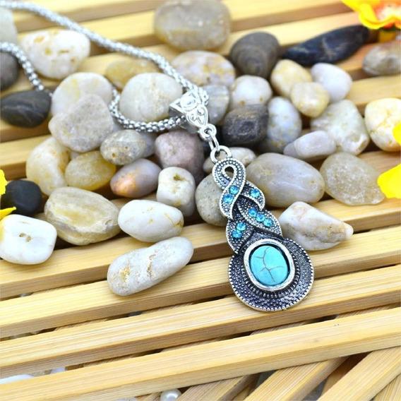 Colar Vintage Luxo Pedra Azul Lindo