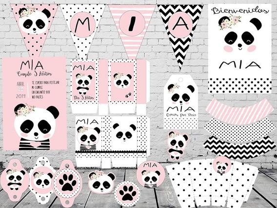 Kit Imprimible Y Editable Cumple Ositos Panda Rosa O Aqua