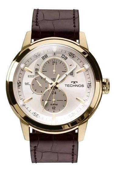Relógio Technos Masculino Grandtech T37 Dourado Couro