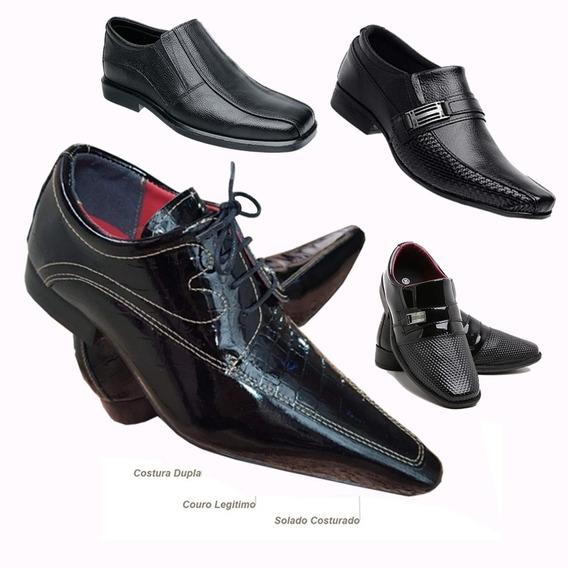 4 Sapatos Social Masculino Couro Legitimo Adulto Infantil