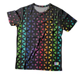 Camiseta Preta Estampa Total Lgbt - Mosaico Triângulos