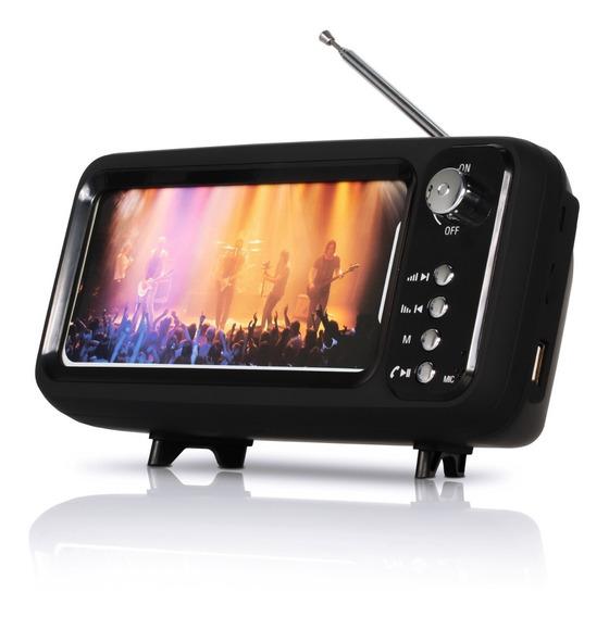 Caixa De Som Bluetooth Com Suporte De Celular Tv Retro Usb