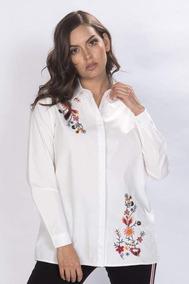 Blusas Camisas Dama Blanca Bordadas Casuales Mujer N81224