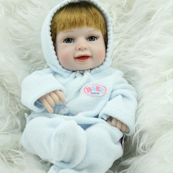 Bebe Reborn 28 Cm Silicone Menino Cabelo Fio A Fio Realista