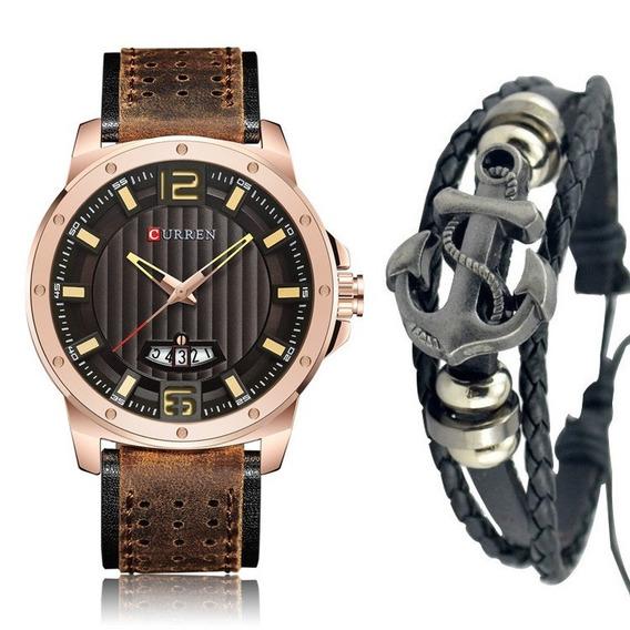 Relógio Masculino Curren Pulseira Couro Aço Inox + Pulseira