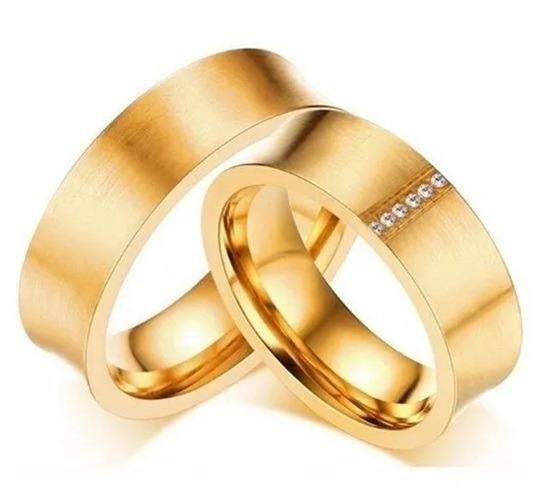 Par Aliança Compromisso Noivado Namoro Anel Elegante Ouro