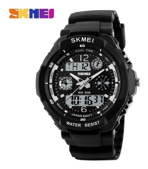 Relógio Esportivo Militar Masculino Skmei S-shock 0931 Led Digital Analógico Mergulho Branco Cronometro Quartz Original