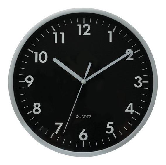 Relógio De Parede Sala Cozinha Grande 25cm Preto E Prata