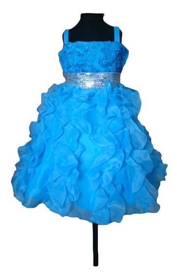 Vestido Infantil Festa Azul Paetês Elsa Cinderela