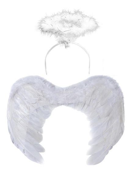 Combo Disfraz Angel Alas Plumas + Aureola Halo Blanco