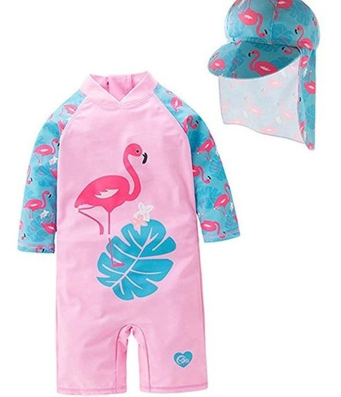 Traje De Baño Niñas 2 Pz Flamingo *envio Inmediato*