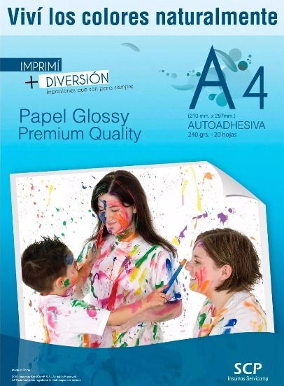 Resma Autoadhesiva A4 Glosy Scp Semi Transparente 150g 20hs