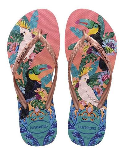 Ojotas Chinelas Chancletas Havaianas Slim Tropical F Mujer