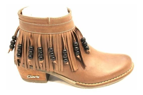 Bota Cuero Mujer Con Flecos Art British. Marca Claris Shoes