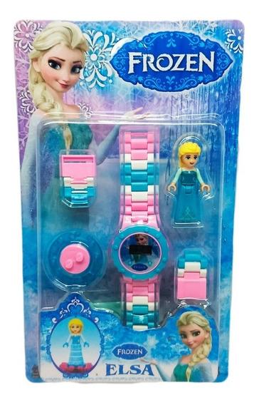 Relógio Digital Infantil Frozen + Boneco Lego Elsa