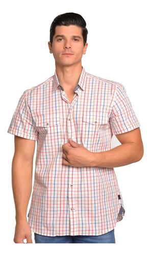 Imagen 1 de 6 de Camisa Hombre Manga Corta Cuadros Multicolor