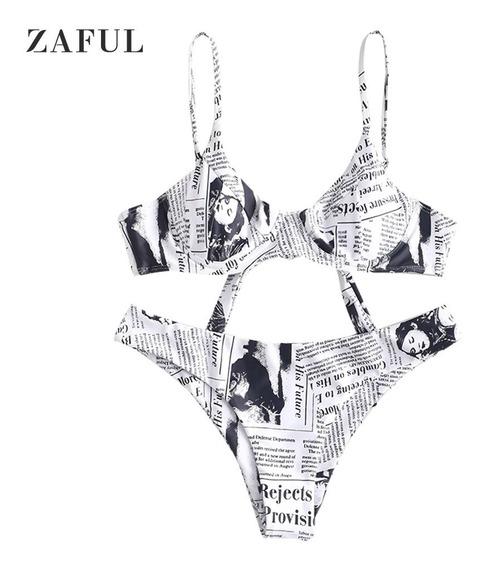 Zaful Impressão De Jornal Knot Underwire Bikini Set