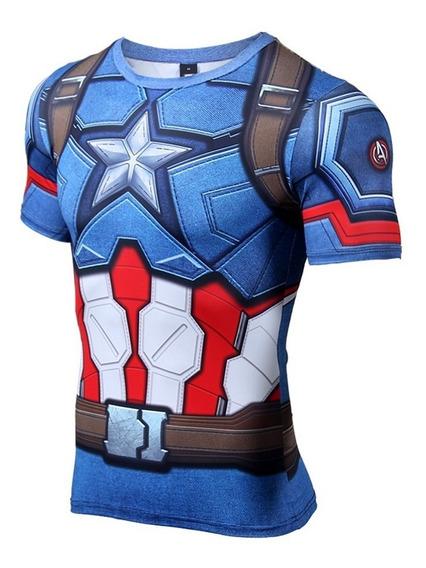 Camisa Comp Capitão América Com Escudo Pronta Entrega