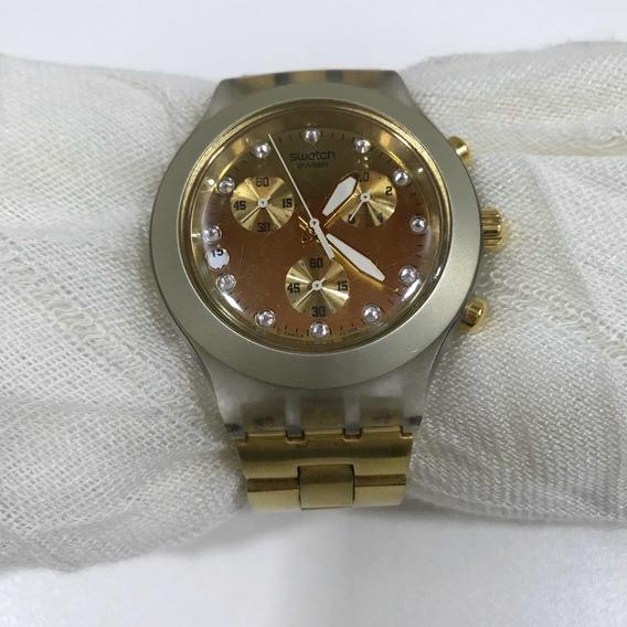 Relógio Swatch Dourado Feminino Usado Ótimo Estado Original