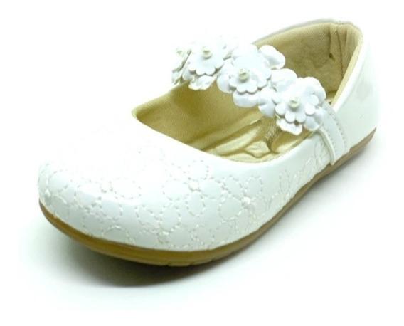 Sapatilha Infantil Bebê Branca Verniz Sapato Boneca