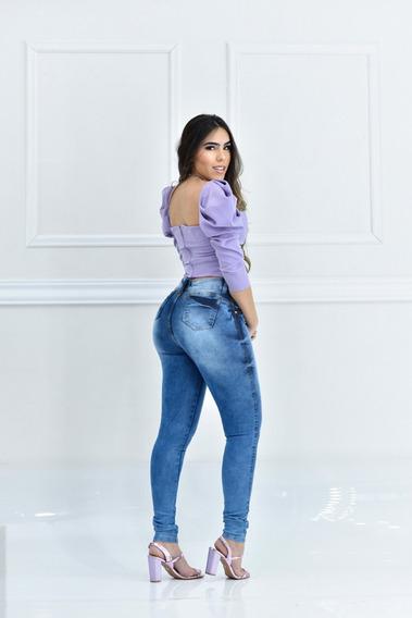 Calça Jeans Feminina Cintura Alta Hot Pants Lycra