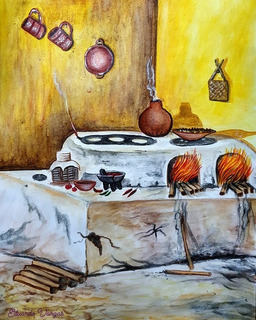 Pintura En Acurela Sobre Cocina Mexicana Antigua