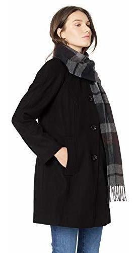 London - Abrigo De Lana Para Mujer Con Bufanda