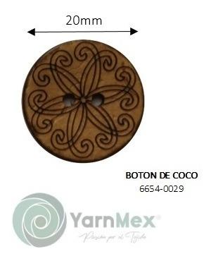 Botón De Coco   6654-0029 - 100pzas