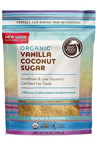 Azúcar De Coco Orgánico De Vainilla De Big Tree Farms, Sin