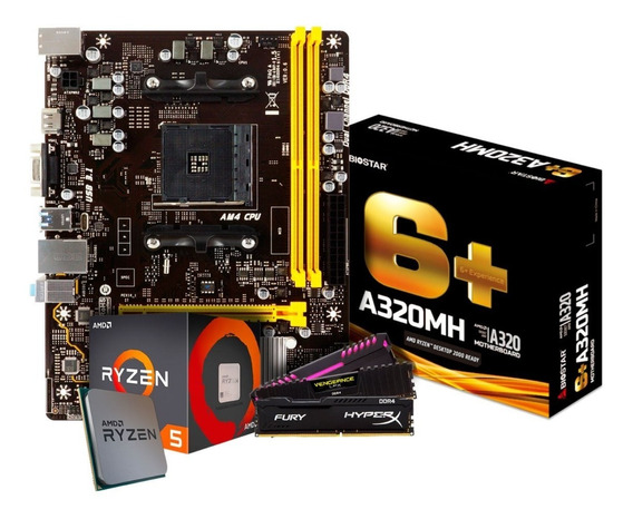 Kit Upgrade Ryzen 5 2600 + Biostar A320mh 6+ + 8gb Ddr4