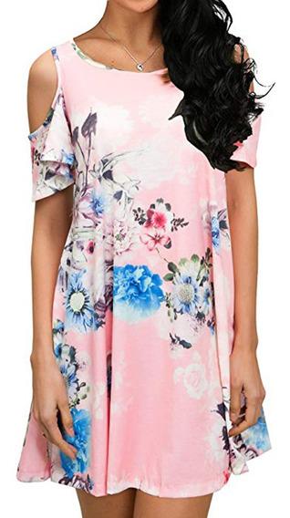 Vestido Casual Con Flor Impresa Para Las Mujeres S-2xl