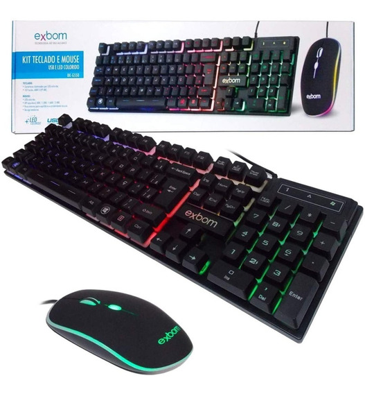 Teclado E Mouse Com Fio Led Gamer Exbom Bk-g550 Abnt