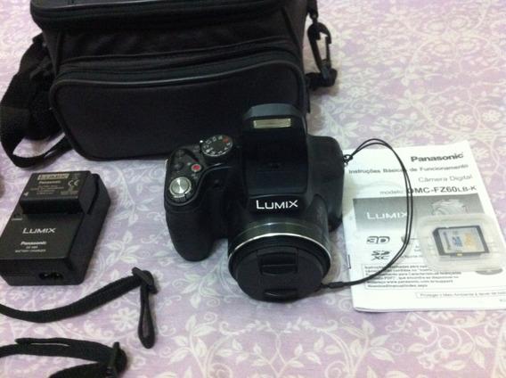 Câmera Lumix Dmc-fz60 Panasonic - Com Tripé E Bolsa / Case