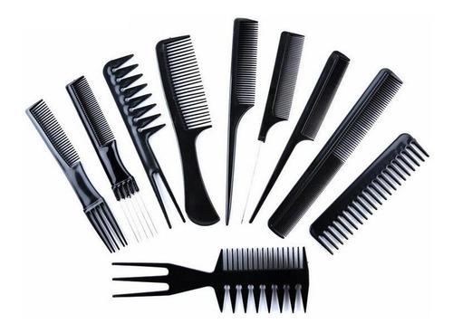 Set De 10 Peines Para Peluqueria/barberia Kit Completo