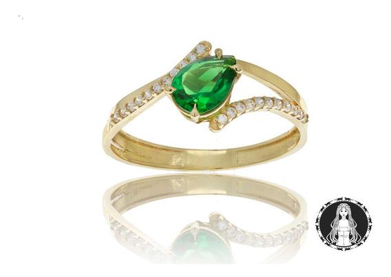Anel Curvo De Ouro 18k Zirconia Gota Verde C/ Nf Garantia U