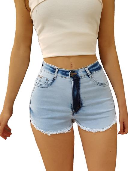 Kit 10 Short Jeans Feminino Cintura Alta Liso Rasgado Luxo