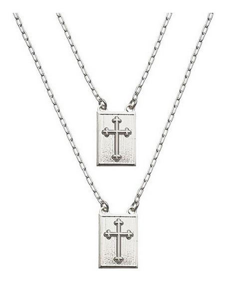 Escapulário Cruz Religioso Prata Pura Garantia Não É Banhado