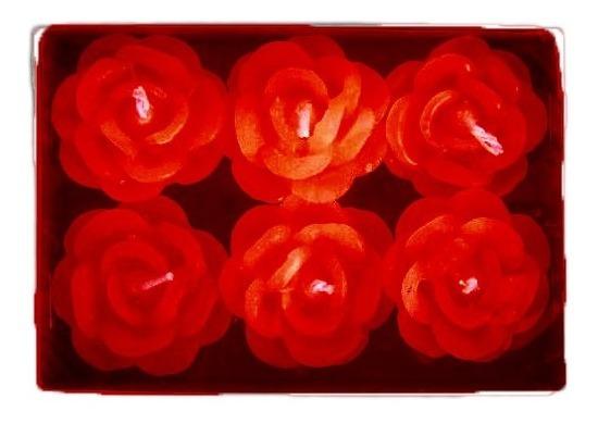 Velas Flutuantes Rosa Vermelha Perfumada Com 12 Unidades