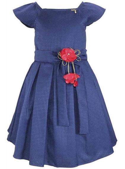 Vestido Festa Infantil Com Manga Liso