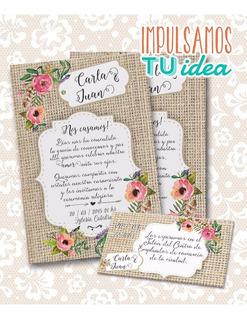 Tarjetas Casamiento Para Imprimir Vintage En Mercado Libre